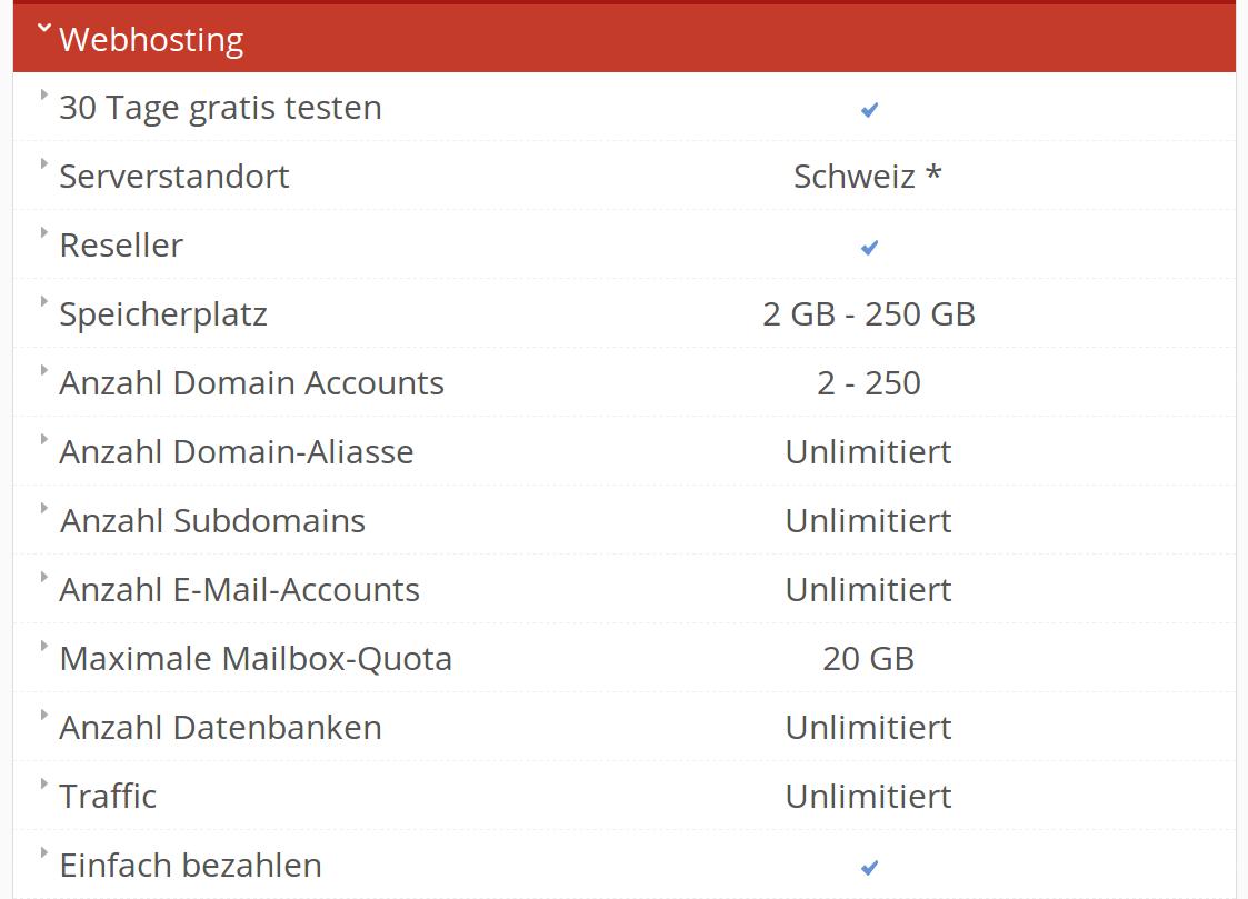 Webhosting aus der Schweiz Details 1